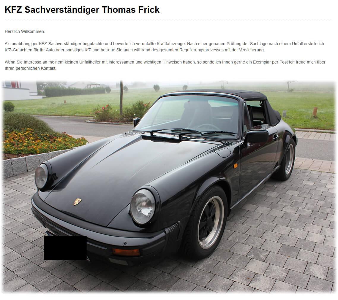 KFZ Sachverständiger Aub - Thomas Frick: PKWs, Oldtimergutachten, Service, Unfallschadenregulierer, Fahrzeugkauf